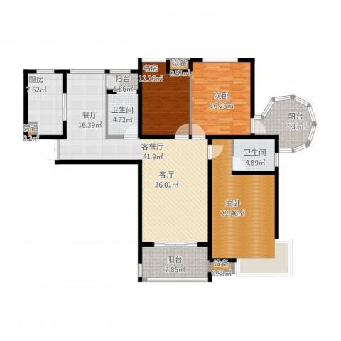 易道郡玫瑰公馆3室1厅4卫2厨184.00㎡户型图