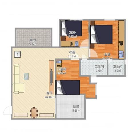 蓝色康园3室1厅2卫1厨99.00㎡户型图
