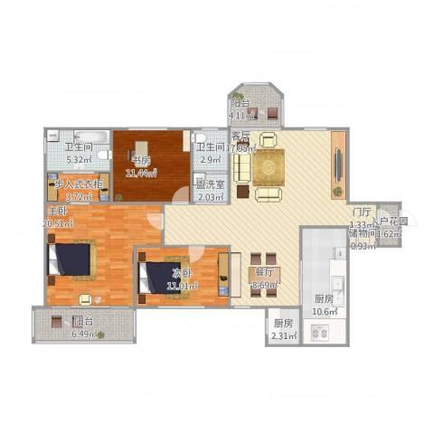 公园5号3室2厅2卫2厨168.00㎡户型图