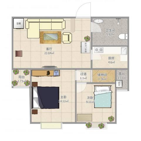 咸宁花园2室1厅1卫1厨86.00㎡户型图