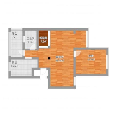 品翠苑1室1厅1卫1厨68.47㎡户型图