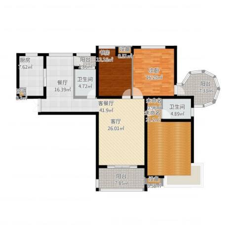 易道郡玫瑰公馆2室1厅4卫2厨184.00㎡户型图