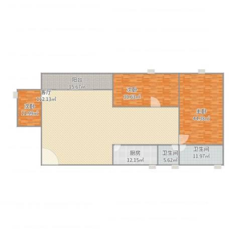 祥景楼3室1厅2卫1厨319.00㎡户型图