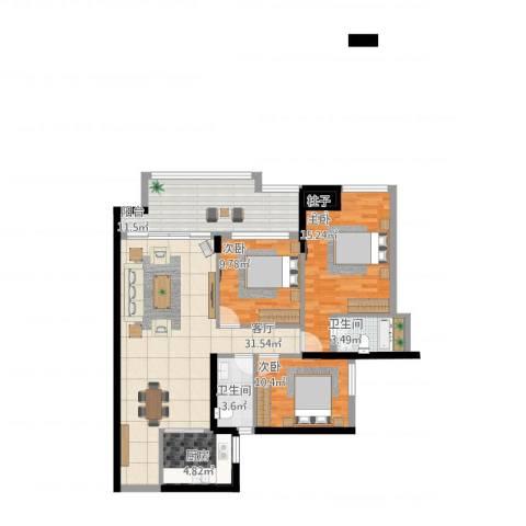 星光礼寓3室1厅2卫1厨129.00㎡户型图
