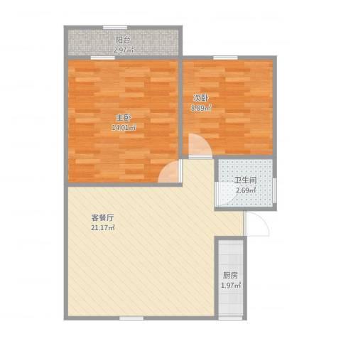 清泉名苑2室1厅1卫1厨70.00㎡户型图
