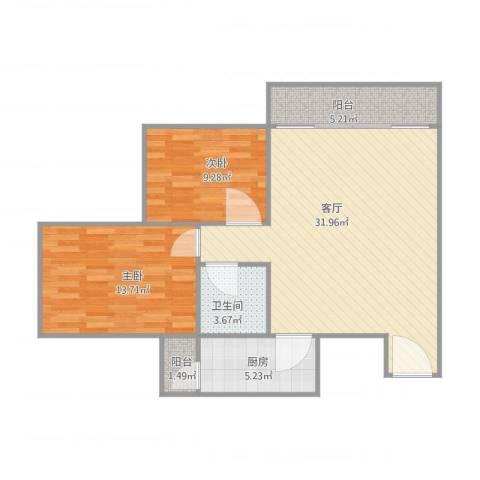 风度广场2室1厅1卫1厨95.00㎡户型图