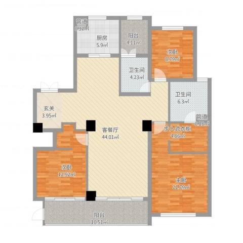 蠡湖香樟园3室1厅2卫1厨169.00㎡户型图