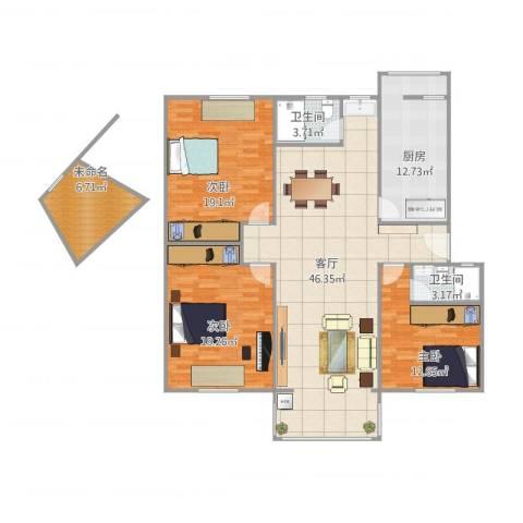 金尚小区3室1厅2卫1厨165.00㎡户型图