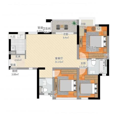 万科金域国际3室1厅2卫1厨109.00㎡户型图
