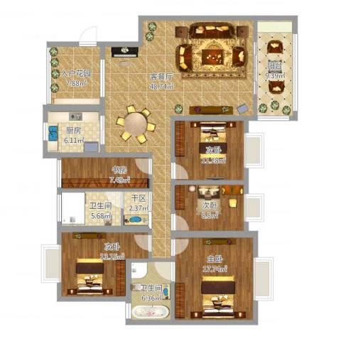 繁华世家5室1厅3卫1厨208.00㎡户型图