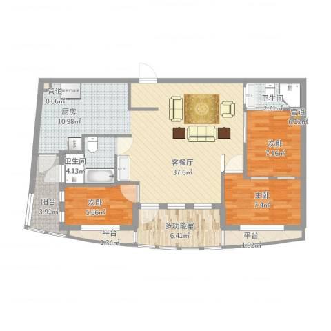宏城金棕榈3室1厅4卫2厨112.00㎡户型图