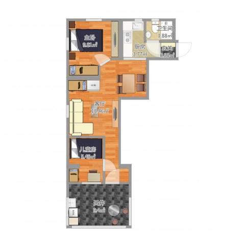 上钢5村2房实际尺寸2室1厅1卫1厨69.00㎡户型图