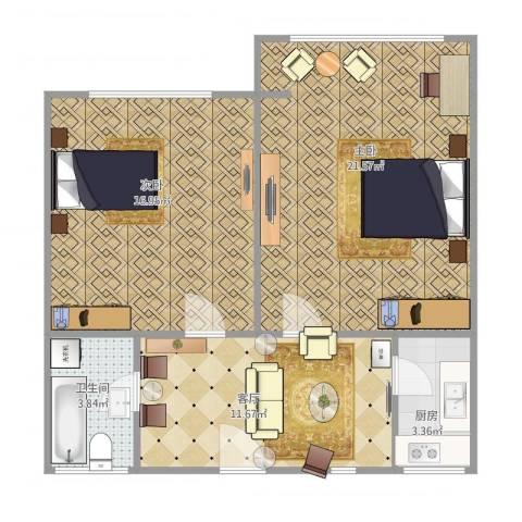 西朱新村2室1厅1卫1厨62.00㎡户型图