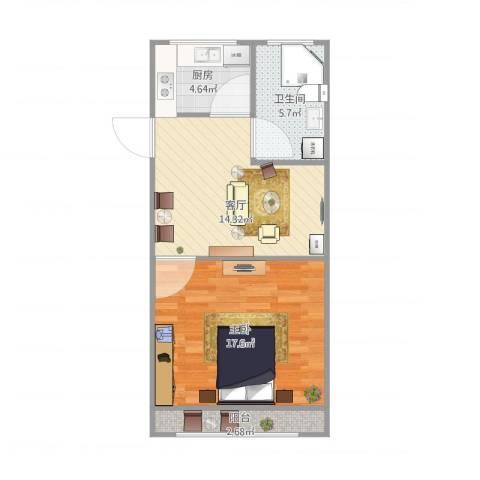 明日新苑1室1厅1卫1厨61.00㎡户型图
