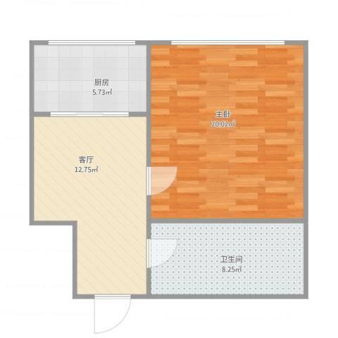 彩霞园1室1厅1卫1厨63.00㎡户型图