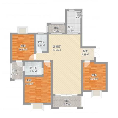 大唐金城3室1厅2卫1厨143.00㎡户型图