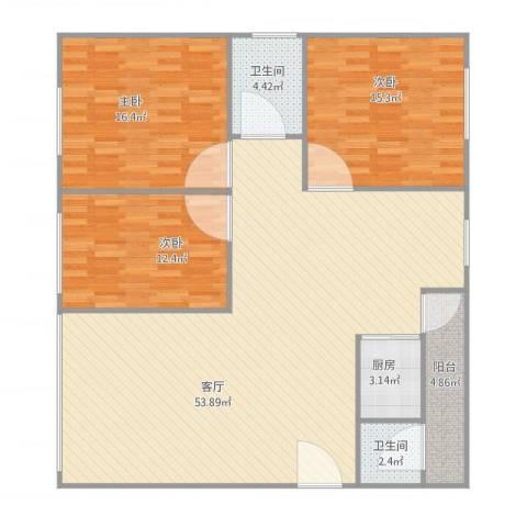 明福楼6楼3室1厅2卫1厨150.00㎡户型图
