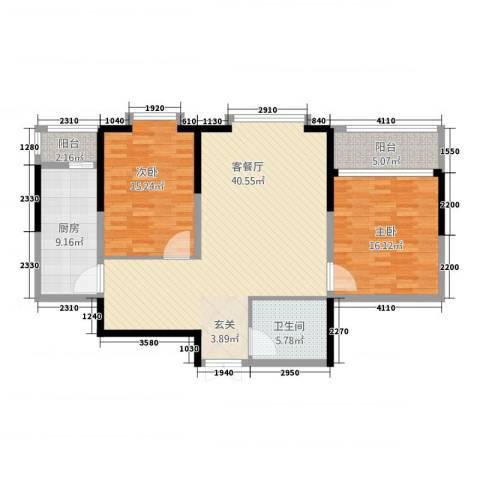 奥林国际公寓2室1厅1卫1厨106.00㎡户型图