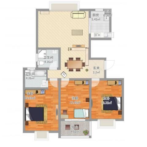 江南人家3室1厅2卫1厨136.00㎡户型图