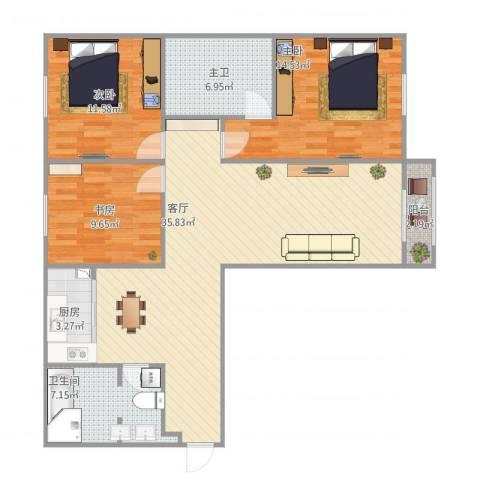 新世纪花园3室1厅1卫1厨123.00㎡户型图