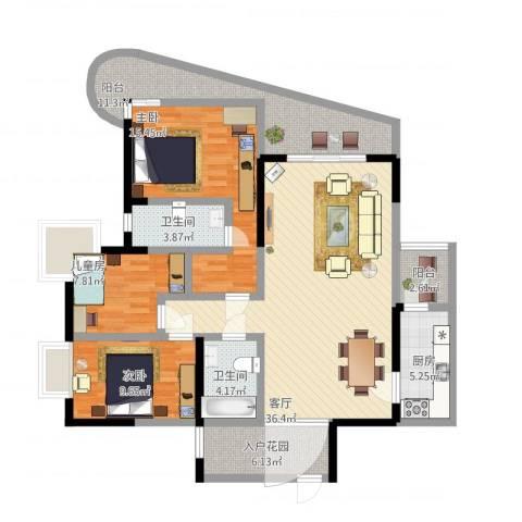 育才竹岛3室1厅2卫1厨151.00㎡户型图