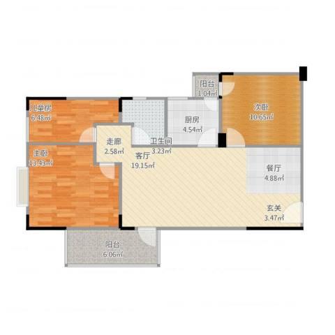 长城里程家园3室1厅1卫1厨102.00㎡户型图