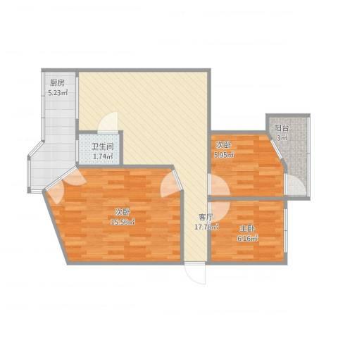 桃花园南里3室1厅1卫1厨76.00㎡户型图