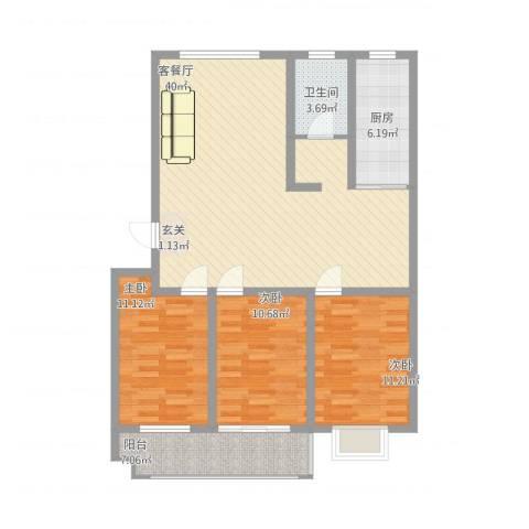 海化阳光花园3室1厅1卫1厨128.00㎡户型图