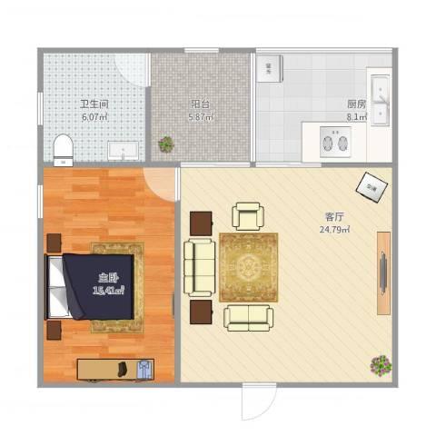 碧翠豪城1室1厅1卫1厨80.00㎡户型图