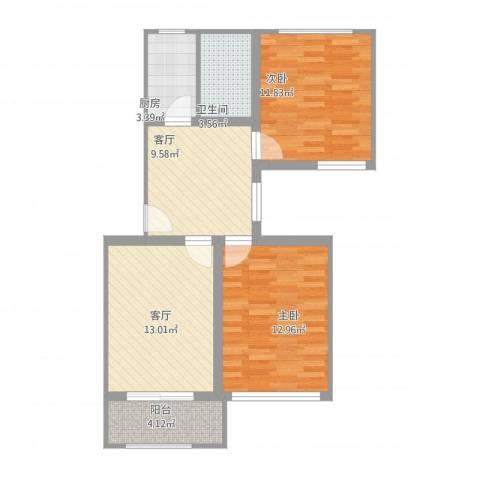 富锦路1659弄小区2室2厅1卫1厨83.00㎡户型图