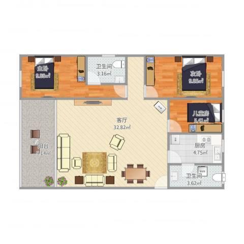 俊雅苑3室1厅2卫1厨106.00㎡户型图