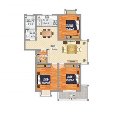荆溪人家3室2厅1卫1厨142.00㎡户型图