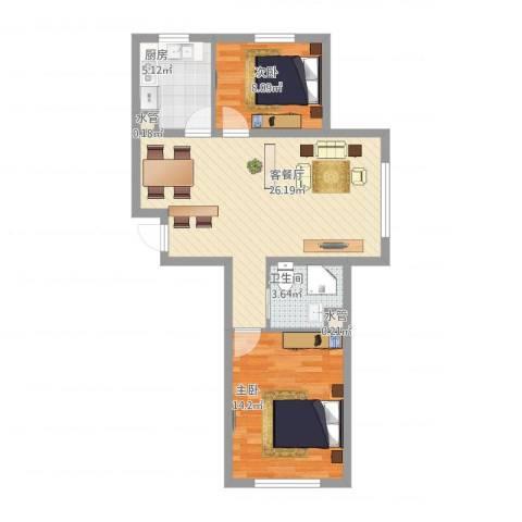 自由向2室1厅3卫1厨82.00㎡户型图
