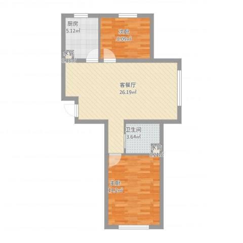 自由向2室1厅2卫2厨82.00㎡户型图
