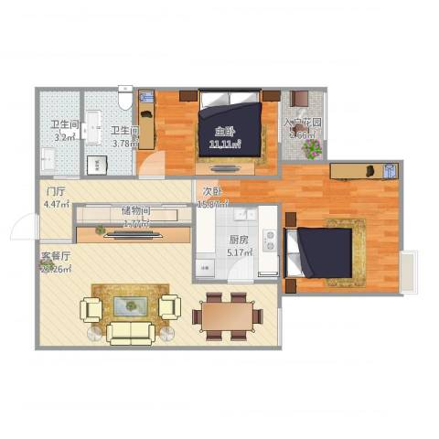 北洼路29号2室1厅3卫1厨95.00㎡户型图