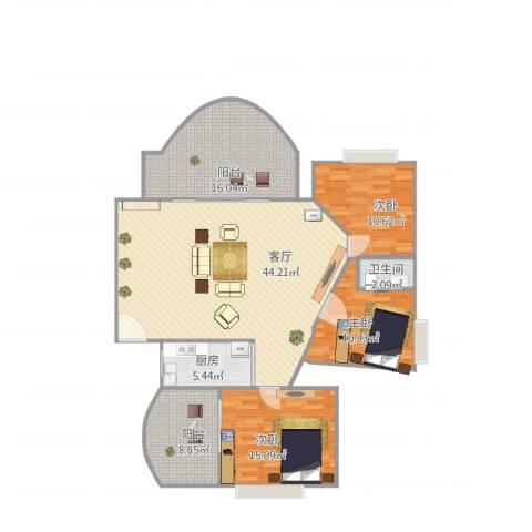 沙面新城3室1厅1卫1厨150.00㎡户型图