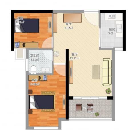 学府丽城2室1厅1卫1厨86.00㎡户型图
