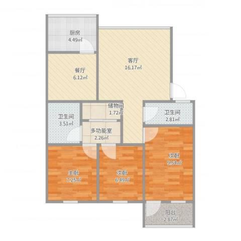 宸宇花园3室2厅2卫1厨87.00㎡户型图