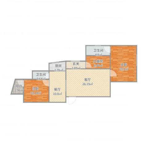 东康花园3室2厅2卫1厨124.00㎡户型图