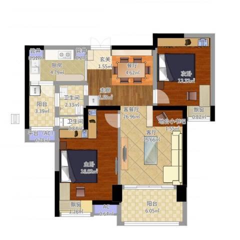 星际豪庭2室1厅2卫1厨109.00㎡户型图