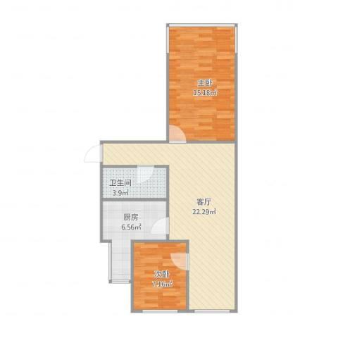 富丰路8号院2室1厅1卫1厨75.00㎡户型图