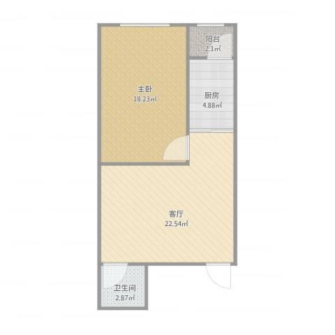 华宇花园1室1厅1卫1厨68.00㎡户型图