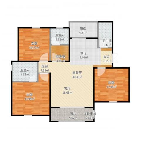 金光大道二期文昌花园3室1厅3卫1厨120.00㎡户型图