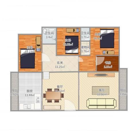 怡翠花园翠竹12座5014室2厅2卫1厨175.00㎡户型图