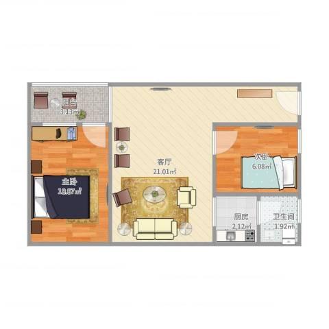 天德花园7f2室1厅1卫1厨60.00㎡户型图