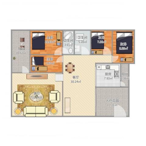 怡翠花园海棠4座14014室2厅2卫1厨188.00㎡户型图