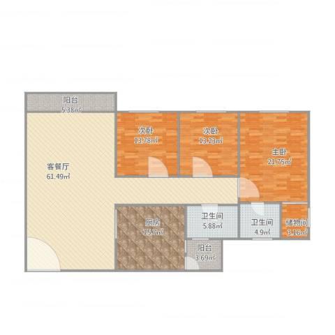 鸿翔湖景苑3室1厅2卫1厨198.00㎡户型图