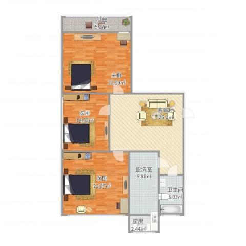 科技大学宿舍3室2厅1卫1厨145.00㎡户型图