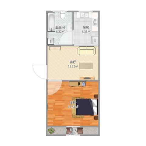 真光八街坊1室1厅1卫1厨62.00㎡户型图