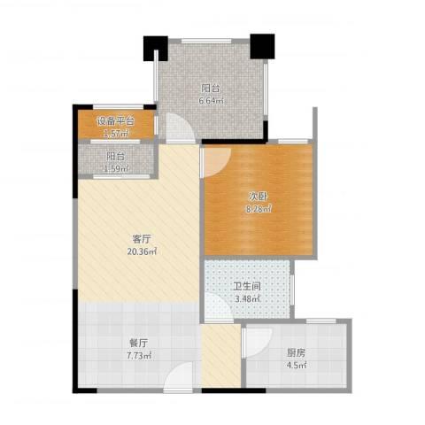 芭厘芭厘1室1厅1卫1厨64.00㎡户型图